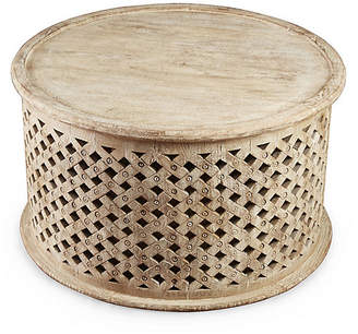 One Kings Lane Ethan Round Coffee Table - Weathered Sand