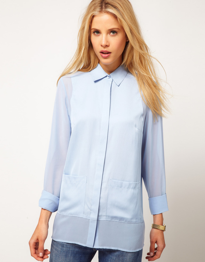 Asos Shirt With Solid And Sheer Panels And Pocket