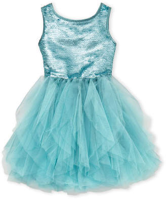 Biscotti Girls 4-6x) Aqua Sequin & Tulle Dress