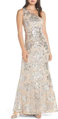 Vince Camuto One-Shoulder Sequin Chiffon Evening Dress