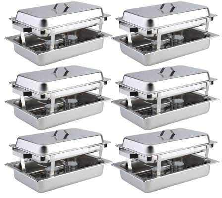 Facetosun 6 Pack Catering Chafing Dish Sets Buffet Catering Food Warmer Stainless Steel Kitchen Dining Heater Warming Food Device
