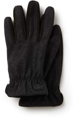 Lacoste Men's Bicolor Leather And Wool Gloves