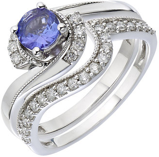 9ct White Gold Diamond & Tanzanite Perfect Fit Bridal Set