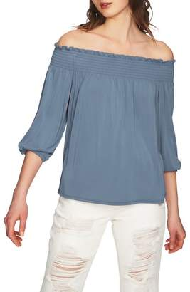 1 STATE 1.STATE Slit Sleeve Smocked Off the Shoulder Top