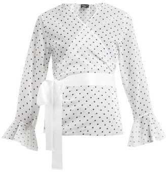Pepper & Mayne - Dolce Polka Dot Print Chiffon Wrap Top - Womens - White Black