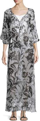 Neiman Marcus Marie France Van Damme Silk Chiffon Boho Maxi Coverup Dress, White/Black