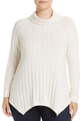 Bobeau B Collection by Curvy Libby Rib Stripe Turtleneck Sweater