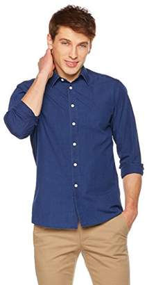 Clifton Heritage Men's Long-Sleeve Washed Demin 100% Cotton Slim Fit With Pocket Casual Shirt Large