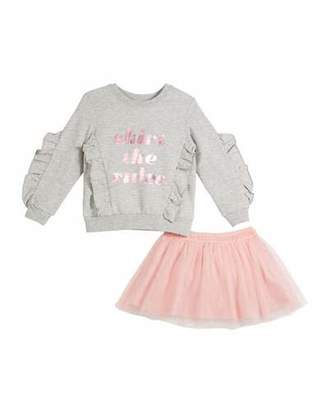 Kate Spade Skirt The Rules Sweatshirt W/ Tulle Skirt, Size 2-6x