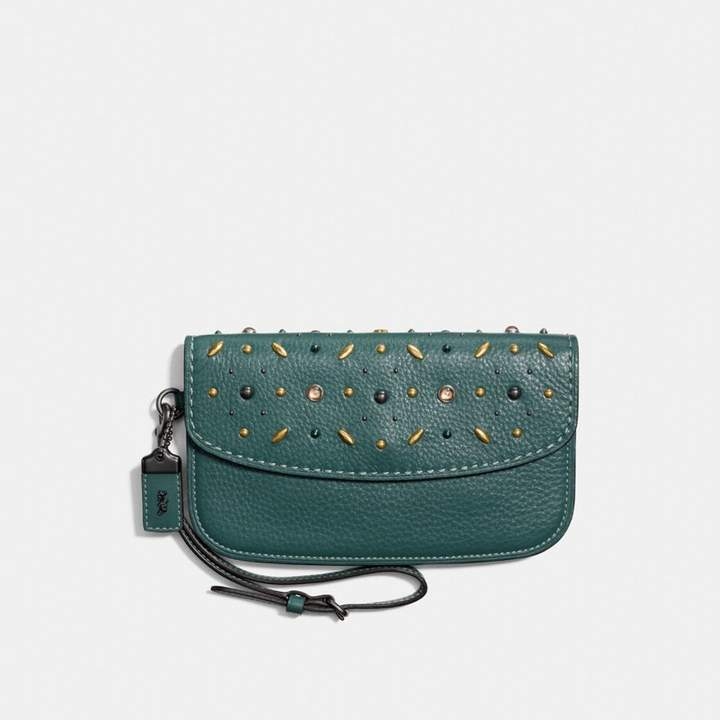 Coach New YorkCoach Clutch With Prairie Rivets - DARK TURQUOISE/BLACK COPPER - STYLE