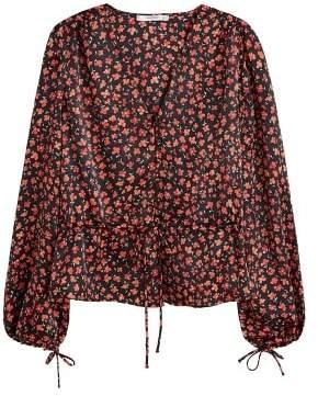MANGO Floral satin blouse