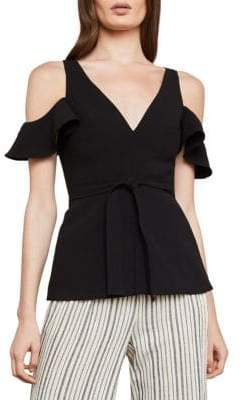 BCBGMAXAZRIA Cold-Shoulder Ruffle Top