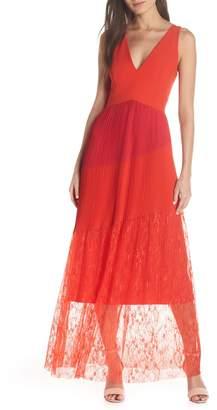 Harlyn Pleated Mix Media Colorblock Evening Dress