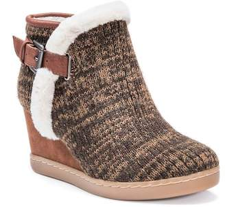 Muk Luks AnnMarie Faux Fur Lined & Trim Wedge Ankle Bootie