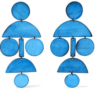 Annie Costello Brown - Pompom Oxidized Earrings - Blue