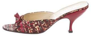 Prada Printed Canvas Slide Sandals