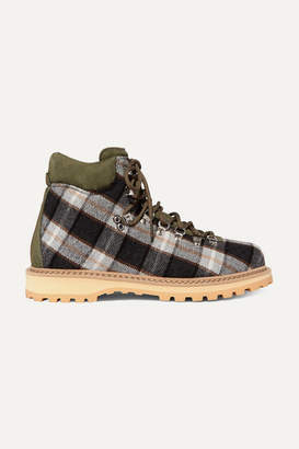 Diemme Roccia Suede-trimmed Checked Wool Ankle Boots - Green
