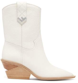 Fendi - Western Leather Ankle Boots - Womens - White