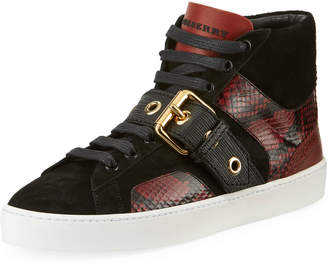Burberry Suede/Snake-Print High-Top Sneakers