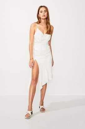 SUBOO Nadia Asymmetric Split Hem Dress - Ivory/Gold Strp