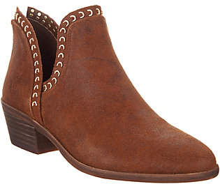 Vince Camuto Leather Exposed Ankle Booties- Prafinta