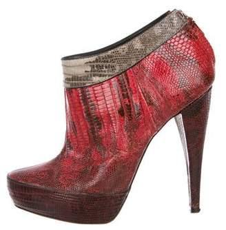 Donna Karan Lizard Platform Booties