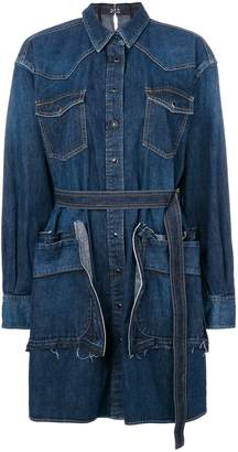 Sacai belted denim shirt dress