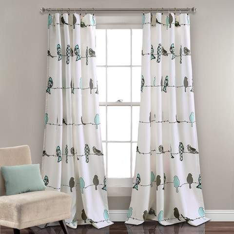 Rowley Birds Room Darkening Window Curtain Panels Blue/Gray Set 52