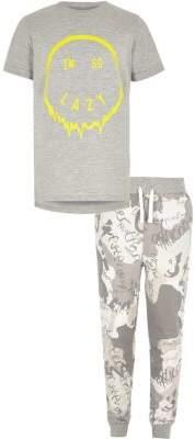River Island Boys grey 'I'm so lazy' pajama set