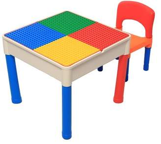 Building Block Generic Grtsunsea Kid's Table- Child Tot Building Blocks Plastic Construction Activity Table Chairs