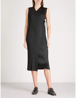 Pleats Please Issey Miyake Rapped Form pleated wrap dress