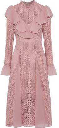 Temperley London Prairie Ruffled Chiffon-Paneled Guipure Lace Dress