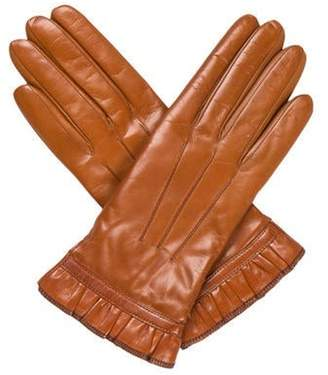 Etro Ruffled Leather Gloves Brown Ruffled Leather Gloves