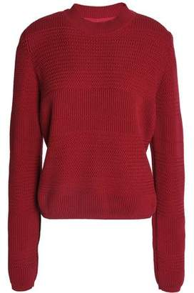 Maison Margiela Cutout Leather-Trimmed Cotton And Silk Sweater