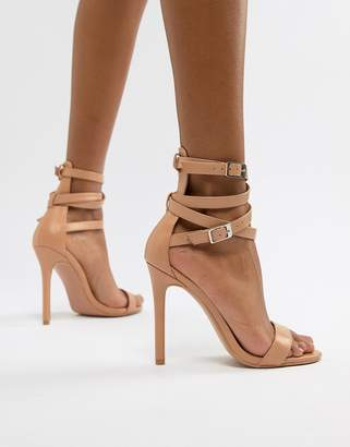 PrettyLittleThing ankle wrap detail barely there heeled sandals in nude