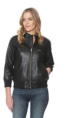 Members Only Women's Mo Perforated Pu Boyfriend Faux Leather Jacket