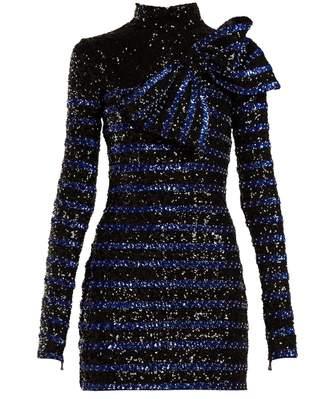 Balmain Sequinned striped mini dress