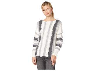 Vince Camuto Long Sleeve Color Block Loop Stitch Stripe Boat Neck Sweater