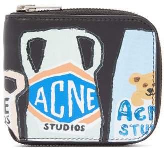 Acne Studios Logo Print Leather Zip Around Wallet - Womens - Black Multi