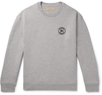 Burberry Logo-Embroidered Fleece-back Cotton-Blend Jersey Sweatshirt - Men - Gray