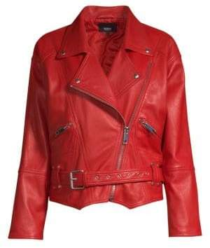 Hudson Leather Belted Moto Jacket