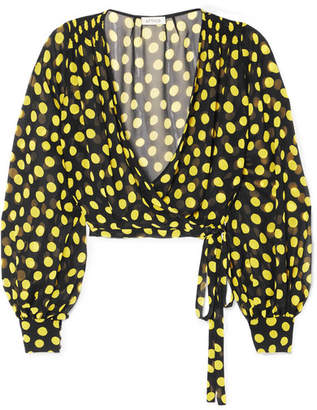 ATTICO Polka-dot Silk-georgette Wrap Top - Black