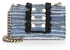 Kooreloo Women's Large New Yorker Soho Pom Pom Denim Crossbody Bag