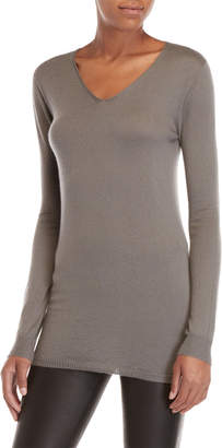 Rick Owens Grey Cashmere V-Neck Sweater