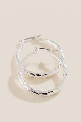 francesca's Kalani Diamond Cut Hoop Earrings - Silver