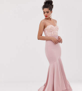 Jarlo Tall multi cross strap maxi dress with lace top in pink