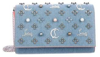 Christian Louboutin 2018 Paloma Loub In The Sky Denim Embellished Clutch Bag