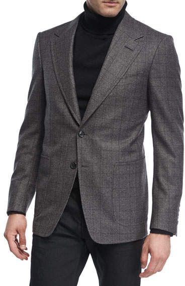 TOM FORD Prince of Wales Plaid Wool Jacket
