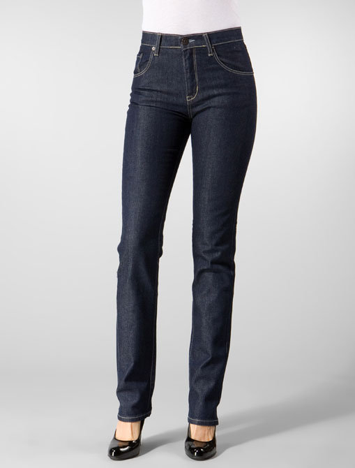 Denim & Thread Highwaist/Straight Tylar Jean in Blue Rinse