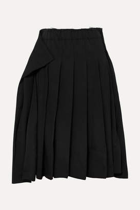 Comme des Garcons Pleated Wool-gabardine Midi Skirt - Black